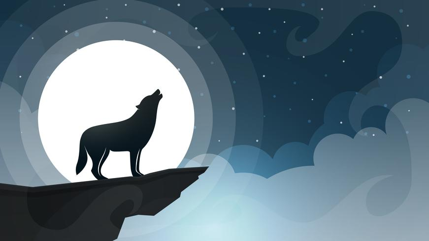 WNight cartoon landscape. Wolf, moon, cloud illustration.