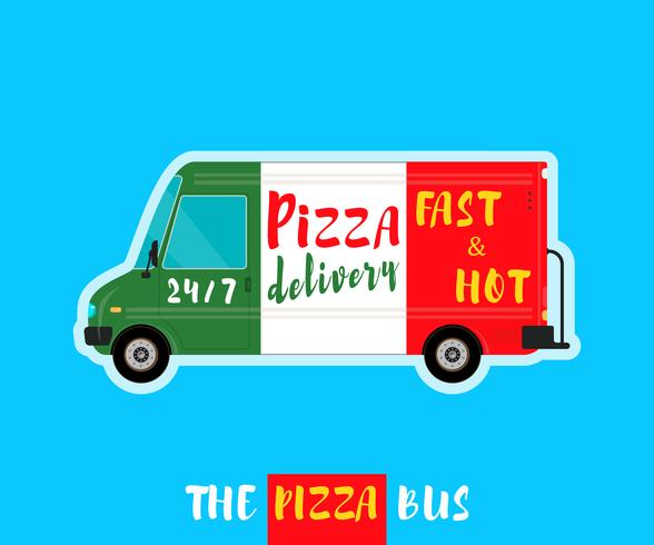 Pizza bus delivery vector