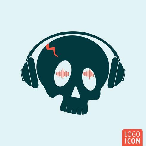 Ícone de fones de ouvido crânio vetor
