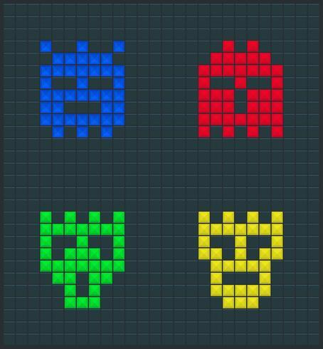 Conjunto de monstruos de color