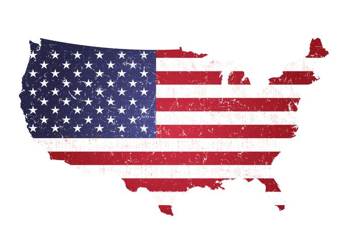 Vintage Textured American Map With Flag