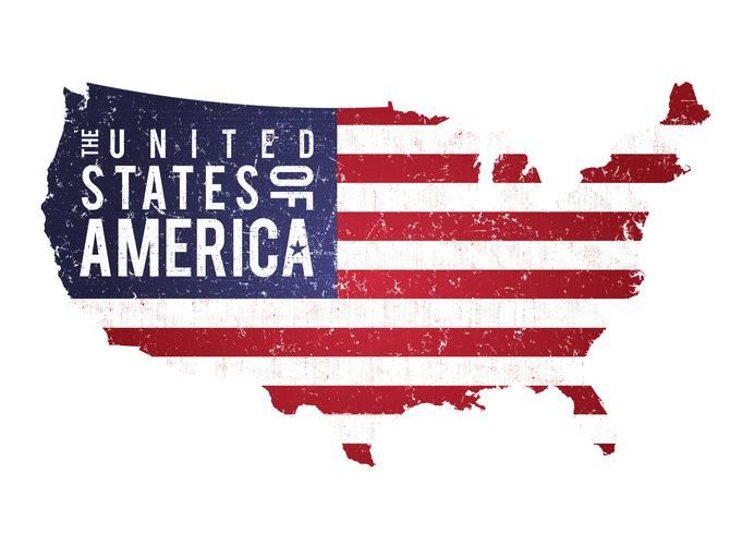 vintage texturerad amerikansk karta med flagga
