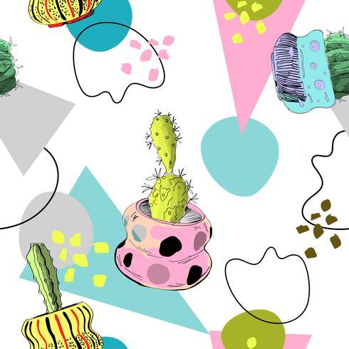 Memphis naadloos patroon met cactussen.