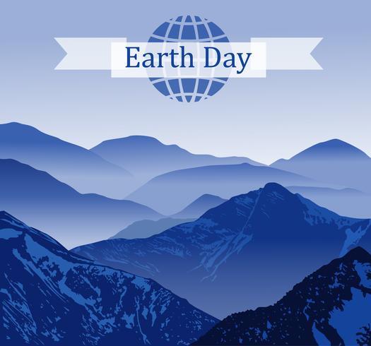 Dia da Terra. Ilustração vetorial com a terra, montanhas, sinal. texto. Cartaz de tipografia para o dia da terra