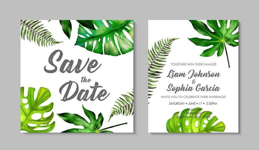 Bruiloft uitnodiging suite met exotische tropische bladeren.