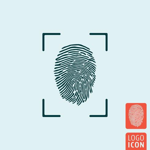 Icona dell'impronta digitale isolata vettore