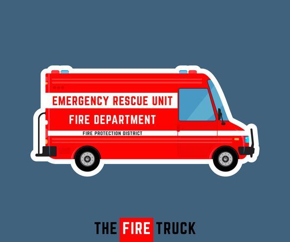 Brandweerwagen geïsoleerd