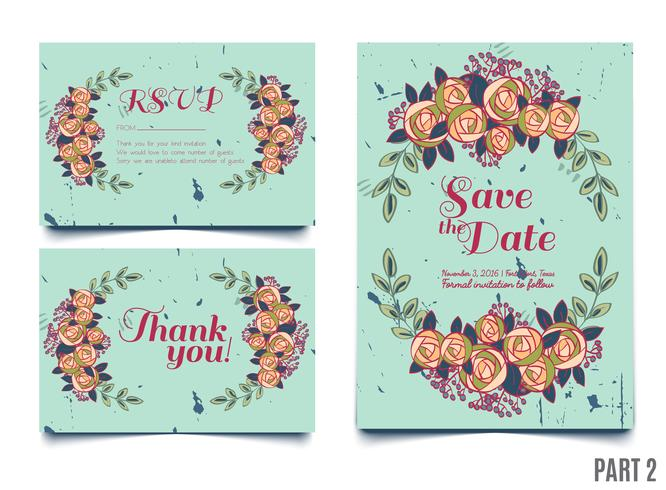 Trendigt kort med rosor för bröllop, spara datuminbjudan, RSVP och tackkort.