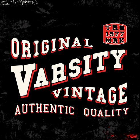 sello vintage del equipo universitario