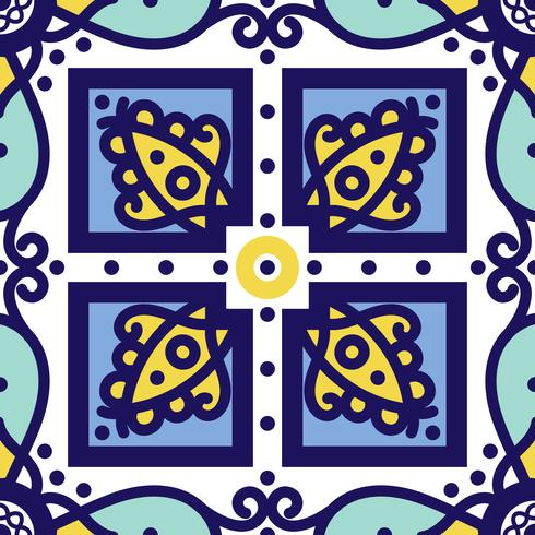 Adorno azul tradicional azulejos portugueses. Patrón sin costuras oriental