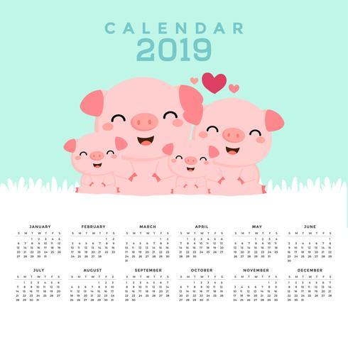Kalender 2019 med söta grisar.