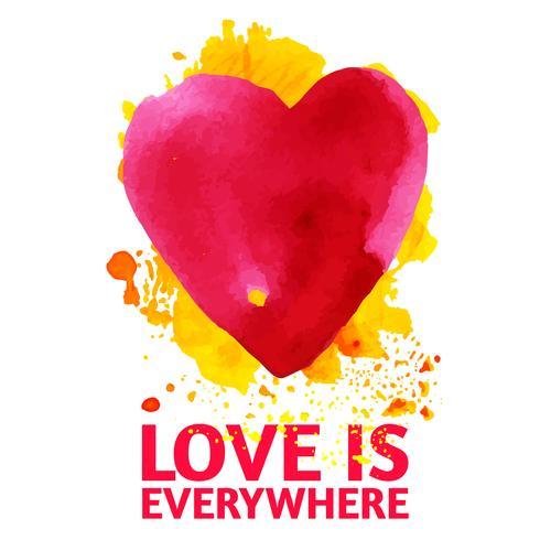 Acuarela corazón rojo inscripción amor para siempre.
