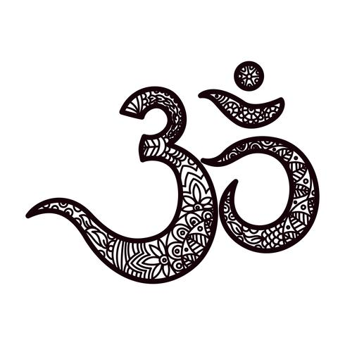Om or Aum Indian sacred sound, original mantra, a word of power. vector
