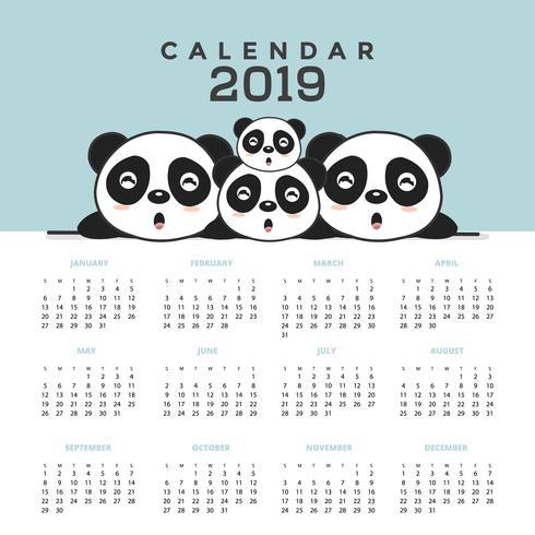 Calendário 2019 com pandas bonitos. vetor