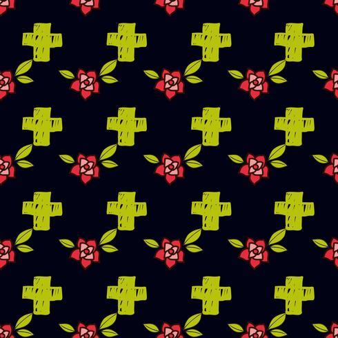 Cruzes e flores em uma tatuagem de estilo antigo. O dia da morte. Um padrão sem emenda sobre um fundo preto.