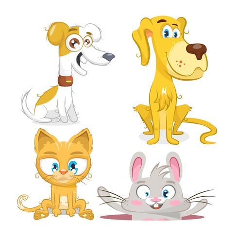 Set di animali, cane, coniglio e gatto