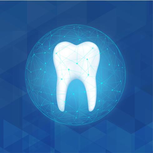 Protezione del dentista. Prendendo cura del concetto dei denti. vettore
