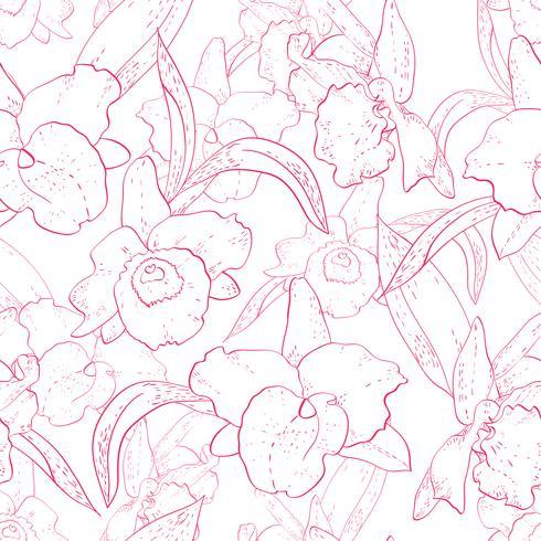 Seamless retro mönster med orkidé