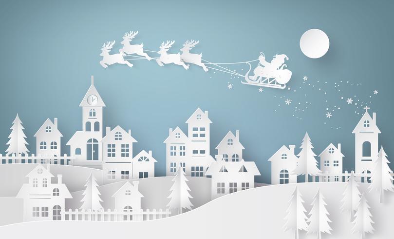 Illustrazione di Babbo Natale sul cielo che arriva in città