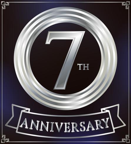 Anel de aniversário de prata vetor