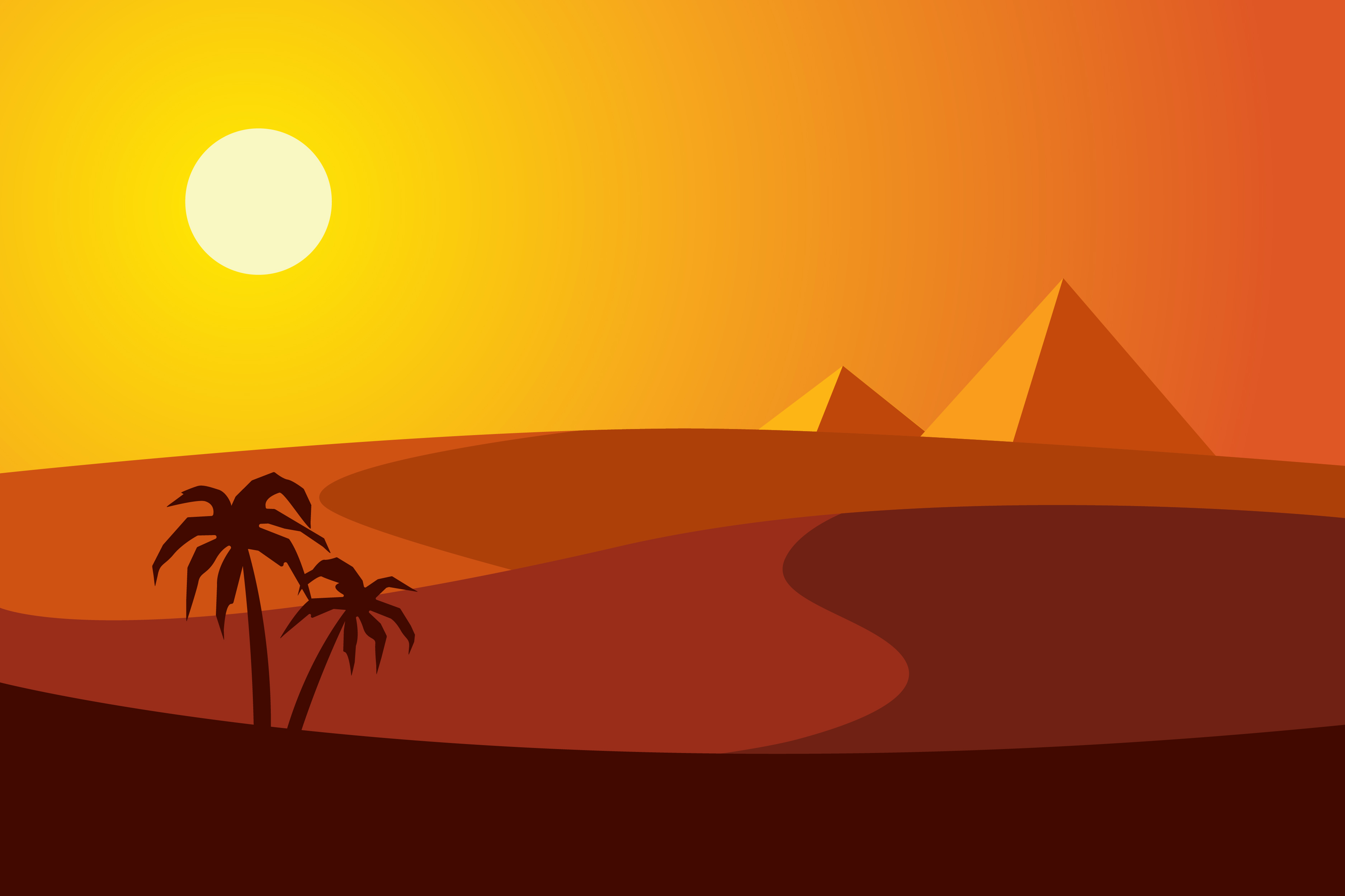 sunset in the desert with pyramids and two palm trees