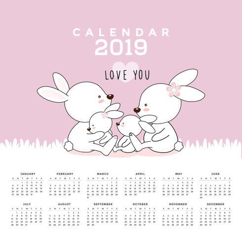 Calendar 2019 with cute rabbits. vector