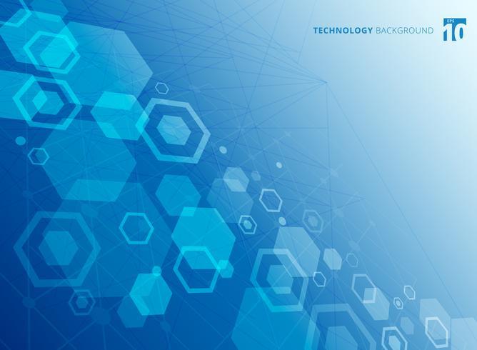 Estructura abstracta hexagonal de las moléculas. El estudio molecular de la química. Tecnología de fondo de color azul.