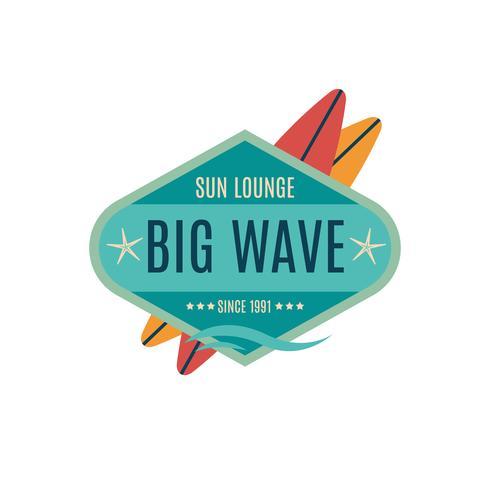 Vecteur des étiquettes de surf de style rétro, Logos