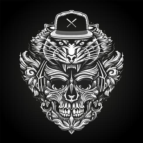 Crânio ornamentado em fones de ouvido e cabeça de tigre em Snapback