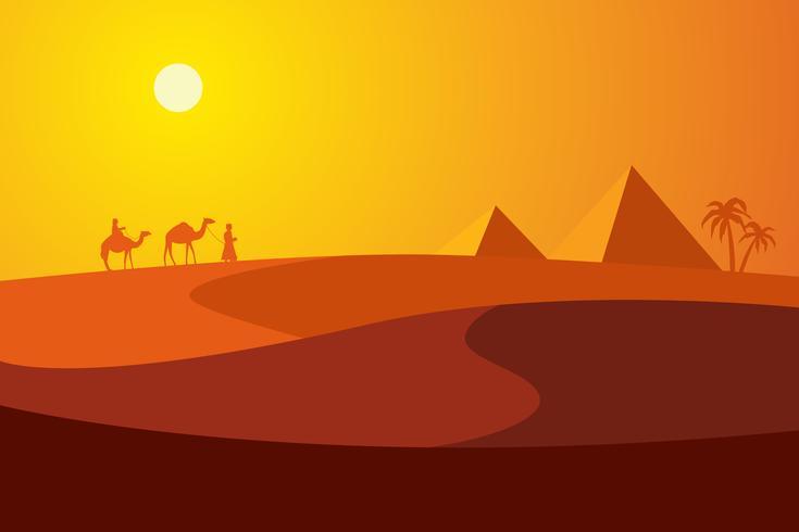 Coucher de soleil dans le désert avec des pyramides et deux palmiers.
