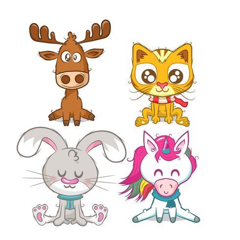 Conjunto de animais, renas, unicórnio, coelho e gato