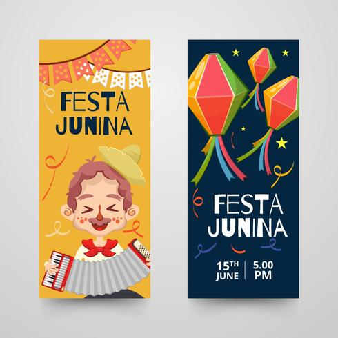 Banners with decorative items for festa junina