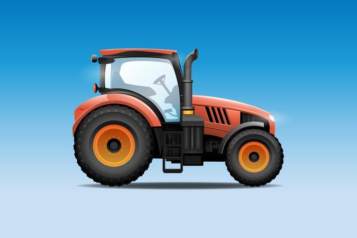 Traktor-Vektor-Illustration. Seitenansicht des modernen Ackerschleppers.