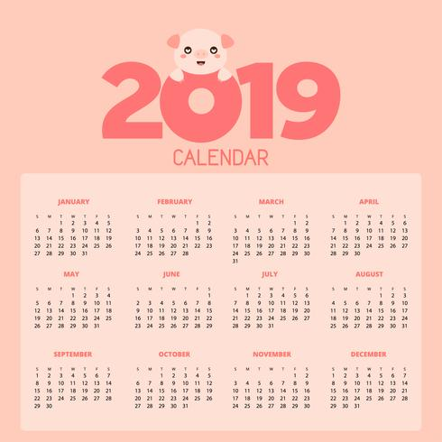 Calendar 2019 with cute pigs.