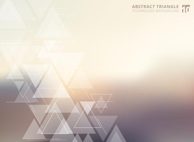 Abstract technology blurred background with triangles pattern element. vector