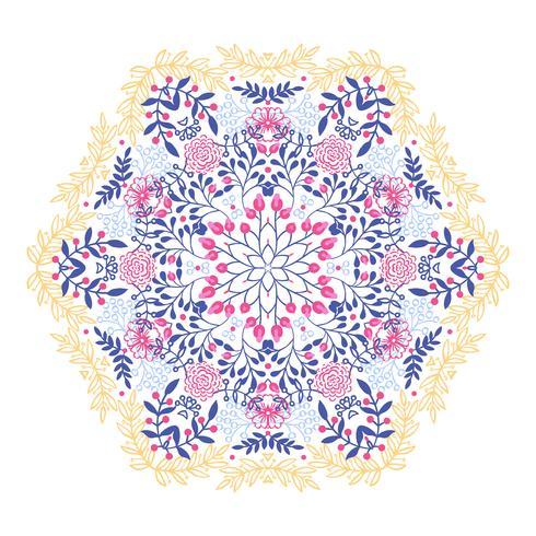 Rund prydnad vintage blommig esoterisk mandala.