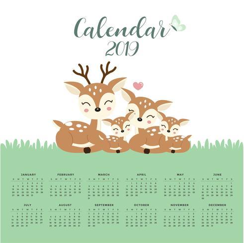 Calendar 2019 with cute deer family.  vector