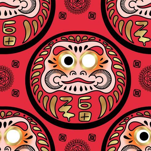 Muñeca Daruma de patrones sin fisuras. vector