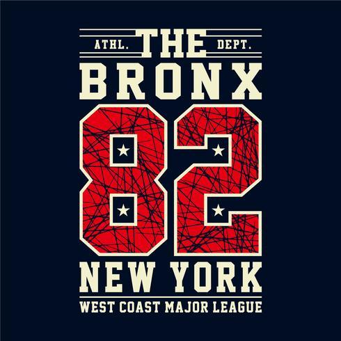 Design letras e números atléticos o bronx new york para camisetas