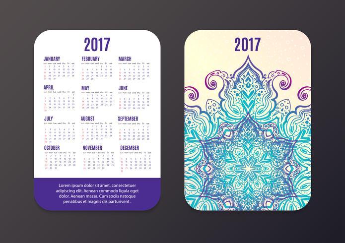 Calendario de bolsillo 2017. Plantilla de vector de diseño de Mandala