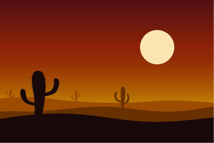 Sunset desert with cactus vector background.