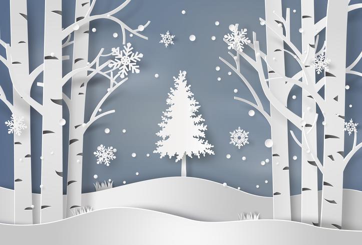 flocos de neve e árvore de natal vetor