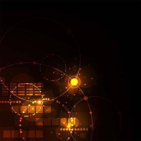 Technology in geometric concept on a dark orange background.