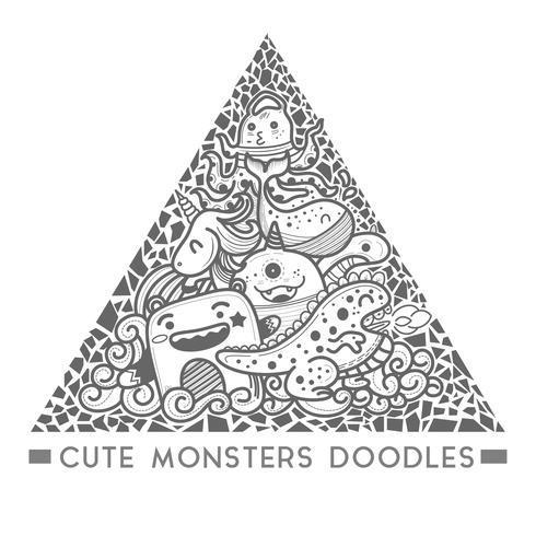 Doodle mostro carino Nel vettore di telaio stile triangolo.