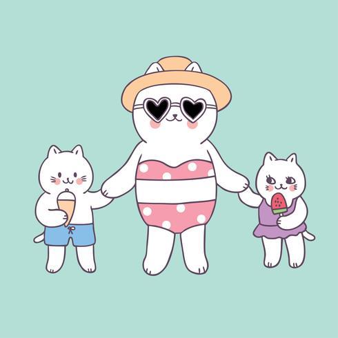 Cartoon cute summer mom and baby cats vector.