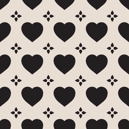 Zwart-wit naadloze patroon met harten
