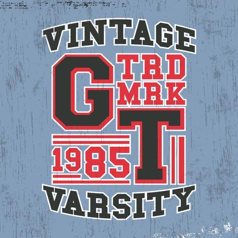 sello vintage del equipo universitario vector