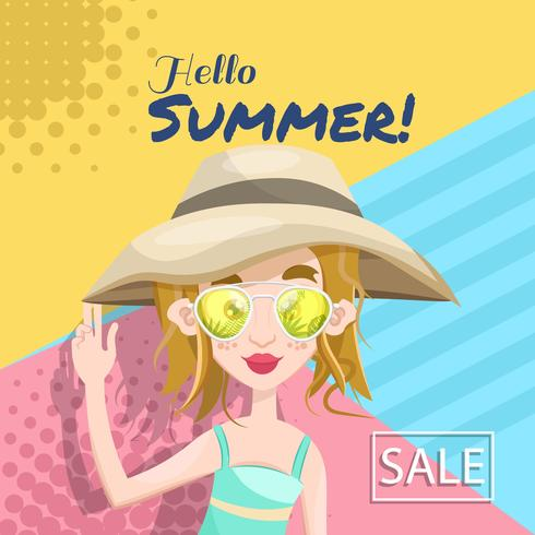 Summer holiday banner with women
