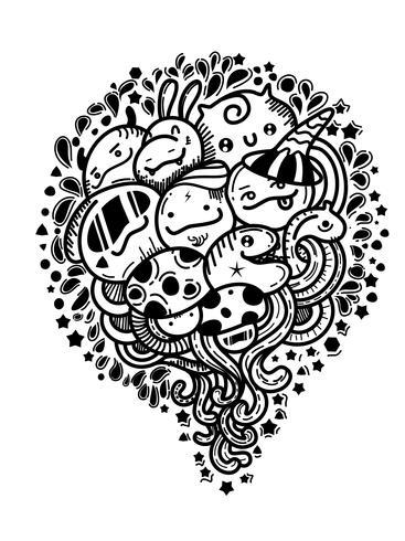 cartone animato carino mostro doodles vettoriale.