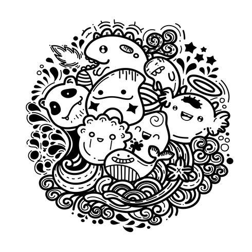cute monster doodles cartoon graghic vector.